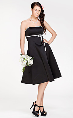 A-line Strapless Knee-length Satin Bridesmaid Dress