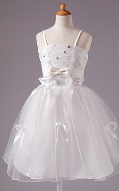 A-line Spaghetti Straps Knee-length Satin Sleeveless Flower Girl Dress