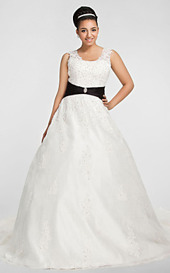 Ball Gown Scoop Chapel Train Organza Plus Size Wedding Dress