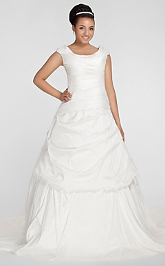 Ball Gown Scoop Chapel Train Taffeta Plus Size Wedding Dress