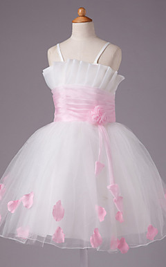 Ball Gown Spaghetti Straps Knee-length Satin And Tulle Flower Girl Dress
