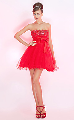 A-line Strapless Short/Mini Tulle Cocktail Dress