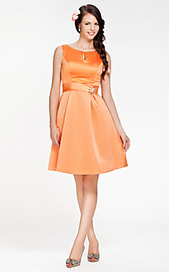 A-line Jewel Knee-length Satin Bridesmaid Dress