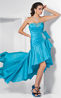 Sheath/ Column Sweetheart Sweep/ Brush Train Taffeta Evening Dress