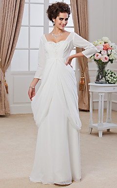 Sheath/ Column Sweetheart Floor-length Chiffon Wedding Dress