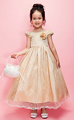 A-line Tulle And Taffeta Tea-length Flower Girl Dress With Bateau