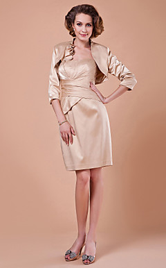 Sheath/Column Strapless 3/4 Length Sleeve Knee-length Satin Mother of the Bride Dress With A Wrap