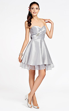 A-line Sweetheart Strapless Knee-length Organza Over Taffeta Organza Bridesmaid Dress