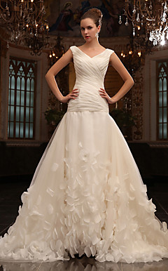 A-line V-neck  Chapel Train Tulle Wedding Dress