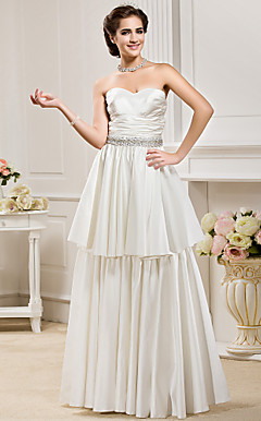 A-line Sweetheart  Floor-length Satin  Wedding Dress