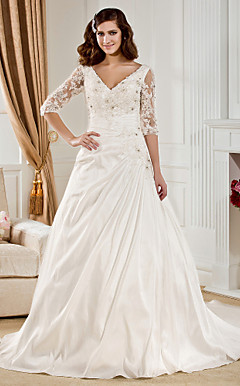 Ball Gown V-neck Chapel Train Taffeta  Wedding Dress