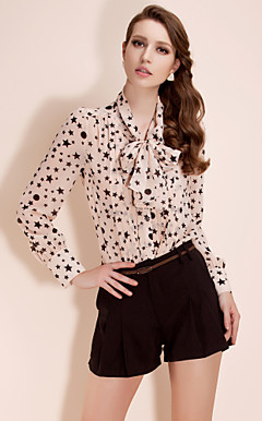TS Star Print Ribbon Chiffon Blouse Shirt