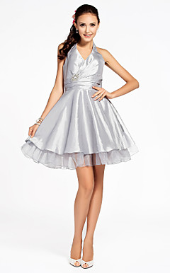 A-line Halter Knee-length Organza Over Taffeta Bridesmaid Dress