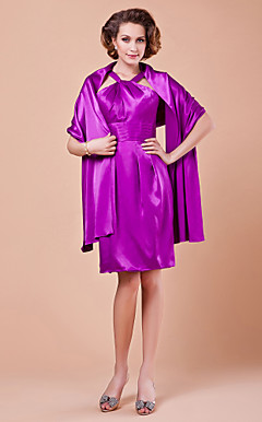 Sheath/Column Straps Knee-length Satin Mother of the Bride Dress With A Wrap