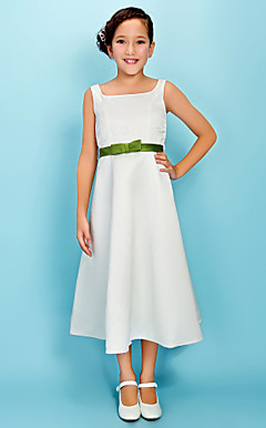A-line Square Tea-length Satin Junior Bridesmaid Dress