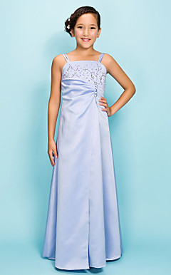 A-line Spaghetti Straps Floor-length Satin Junior Bridesmaid Dress