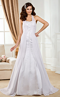 Trumpet/Mermaid Halter Floor-length Satin And Chiffon Wedding Dress