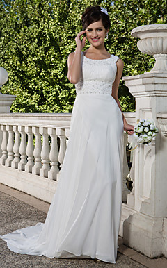 Sheath/Column Scoop Court Train Chiffon Wedding Dress