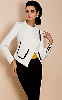 TS Asymmetrical Contrast Color Jacket