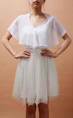 Short Sleeve Chiffon Special Occasion Jacket/Wedding Wrap(More Colors)