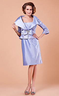 Sheath/Column Spaghetti Straps 3/4 Length Sleeve Knee-length Taffeta Mother of the Bride Dress With A Wrap
