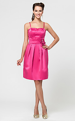 A-line Sweetheart Knee-length Satin Bridesmaid Dress With Flower(s)