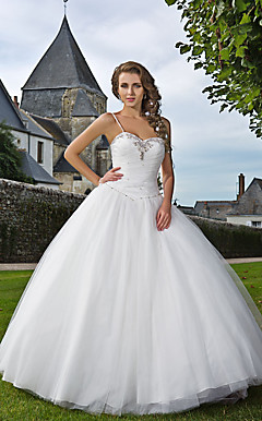 Ball Gown Sweetheart Spaghetti Straps Floor-length Tulle Wedding Dress
