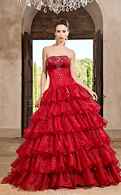 Ball Gown Strapless Floor-length Organza Satin Evening Dress