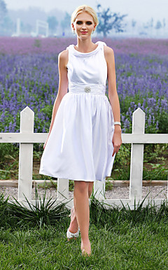 A-line Scoop Knee-length Elastic Silk-like Satin Wedding Dress