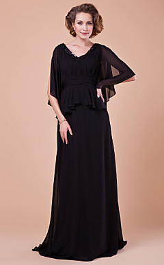 A-line V-neck Sweep Brush Train Chiffon Mother Of The Bride Dress