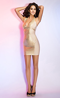 Sheath/Column Halter Sleeveless Short/Mini Bandage Dress