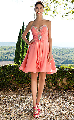 A-line Sweetheart Short/ Mini Chiffon Cocktail Party Dress