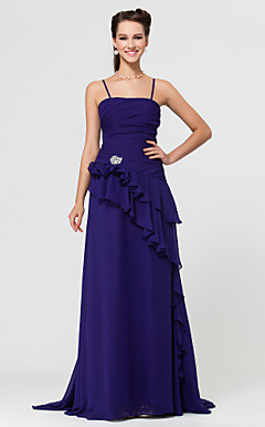 Sheath/Column Floor-length Chiffon Bridesmaid Dress With Cascading Ruffles