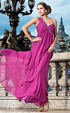 Sheath/Column One Shoulder Floor-length Chiffon Evening Dress With Beading