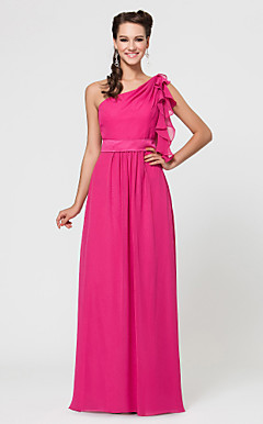 Sheath/Column One Shoulder Floor-length Chiffon And Satin Bridesmaid Dress With Cascading Ruffles