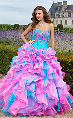 Ball Gown Sweetheart Floor-length Organza Prom/Evening Dress With Beaded Embroidery And Cascading Ruffles
