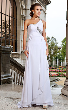Sheath/Column One Shoulder Sweep/Brush Chiffon Evening Dress