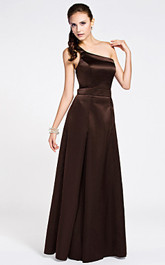 A-line One Shoulder Sleeveless Ankle-length Satin Bridesmaid Dress