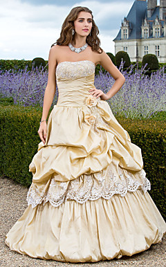 baljurk strapless vloer-length taffeta avondjurk