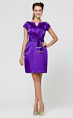 Sheath/ Column V-neck Knee-length Stretch Satin Bridesmaid Dress