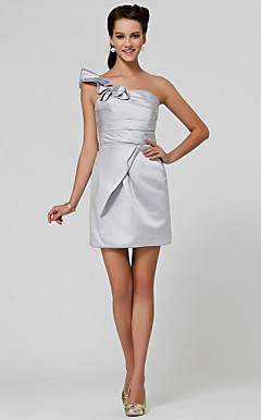 Sheath/ Column One Shoulder Short/ Mini Satin Bridesmaid Dress