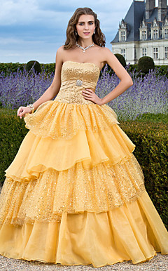 Ball Gown Strapless Floor-length Sequined Organza Evening Dress