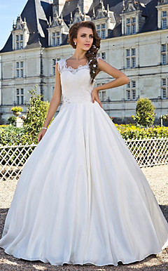 Ball Gown Scoop Floor-length Taffeta Lace Wedding Dress