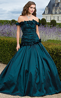 Ball Gown Off-the-shoulder Floor-length Taffeta Evening Dress