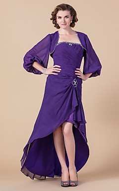 Sheath/Column Strapless Asymmetrical Chiffon Mother of the Bride Dress With A Wrap