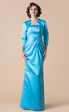 Sheath/Column Strapless Floor-length Satin Mother of the Bride Dress With A Wrap