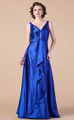 A-line V-neck Floor-length Stretch Satin Mother of the Bride Dress