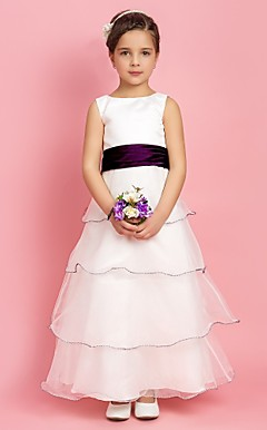 A-line Jewel Floor-length Stretch Satin And Organza Flower Girl Dress