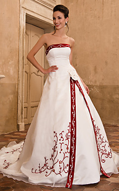A-line Strapless Sleeveless Organza Satin Chapel Train Wedding Dress