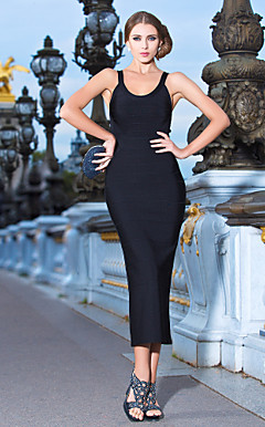 Sheath/Column Scoop Tea-length Bandage Dress
